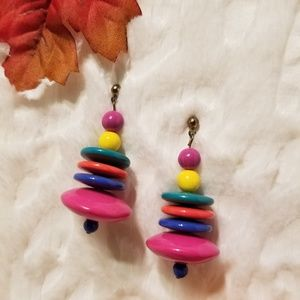 Retro 80's AWESOME multi-colored earrings